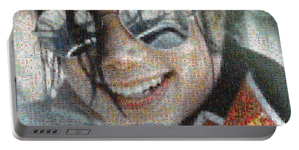 Michael Portable Battery Charger featuring the digital art Michael Jackson - Mosaic by Paulette B Wright