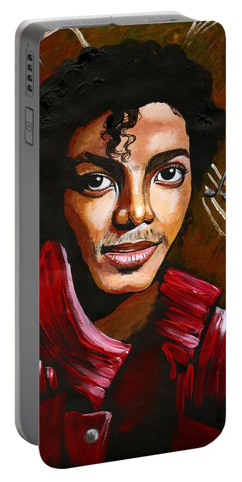 Music Portable Battery Charger featuring the photograph Michael Jackson by Artist RiA