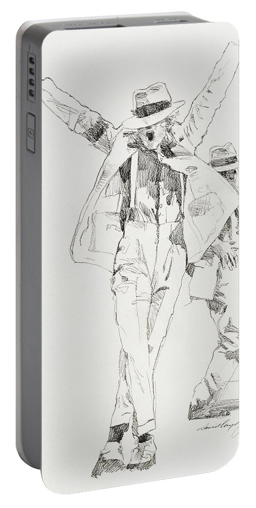 Michael Jackson Portable Battery Charger featuring the drawing Michael Smooth Criminal by David Lloyd Glover