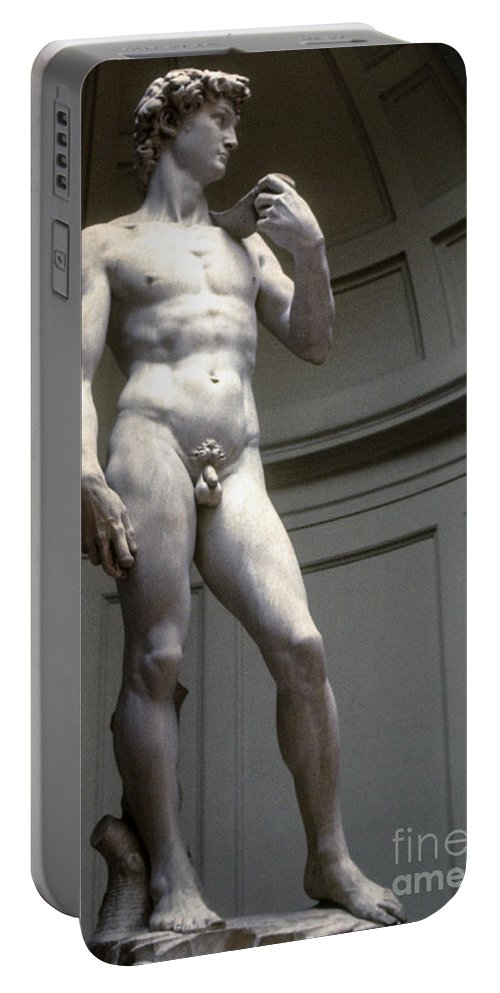 Museum Museums Statue Statues Florence The David Florence Marble Sculpture Sculptures Michelangelo's David Accademia Gallery Masterpiece Artwork Italy Portable Battery Charger featuring the photograph Michelangelo's David by Bob Phillips