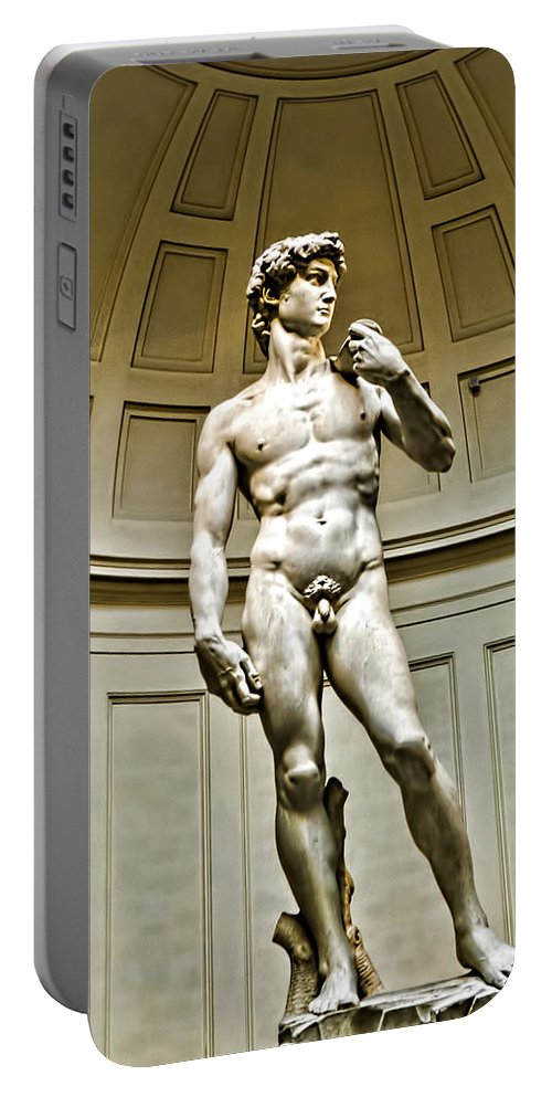 David Portable Battery Charger featuring the photograph Michelangelos David by Jon Berghoff