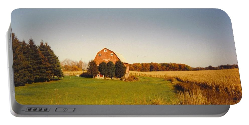 Barn And Corn Field In Fall Colors Portable Battery Charger featuring the photograph Michigan Barn And Landscape by Robert Floyd