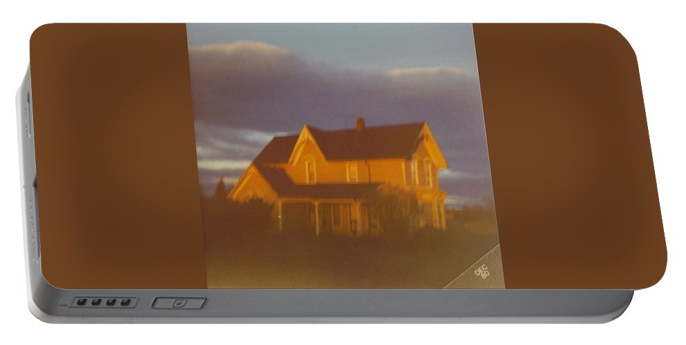 Michigan Farm And Cool Fall Skies Portable Battery Charger featuring the photograph Michigan Farm House by Robert Floyd