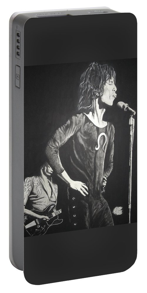 Mick Jagger Portable Battery Charger featuring the drawing Mick Jagger by Charles Rogers