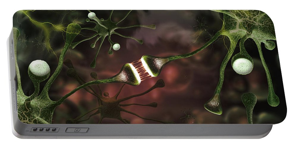 Photography Portable Battery Charger featuring the photograph Microscopic Image Of Brain Neurons by Panoramic Images