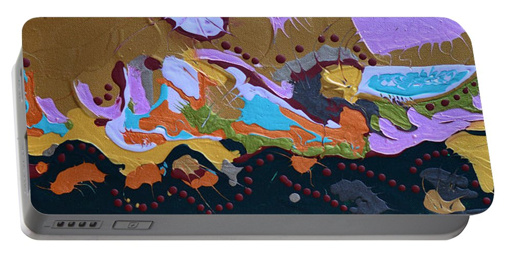 Bold Abstract Portable Battery Charger featuring the painting Microscopic Life by Donna Blackhall