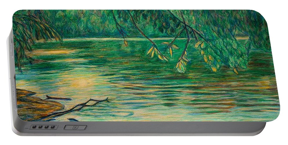 Landscape Portable Battery Charger featuring the painting Mid-spring On The New River by Kendall Kessler