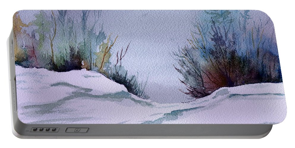 Landscape Portable Battery Charger featuring the painting Midday Winter In Maine by Brenda Owen