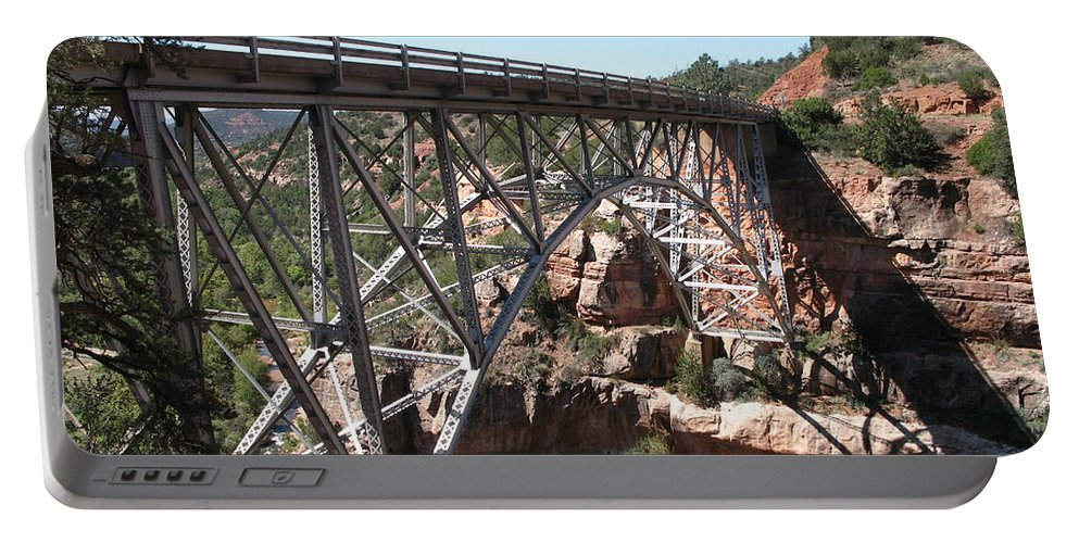 Bridge Portable Battery Charger featuring the photograph Midgley Bridge Over Oak Creek Canyon by Christiane Schulze Art And Photography