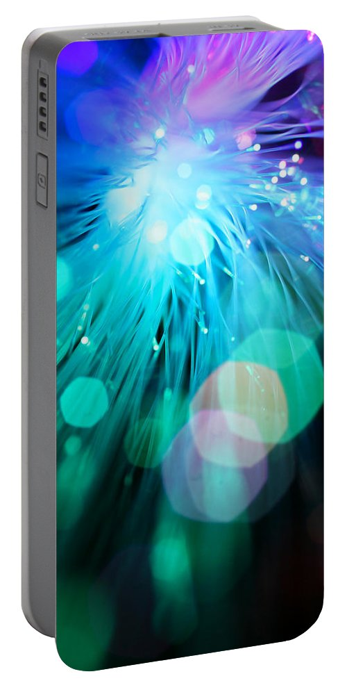 Abstract Portable Battery Charger featuring the photograph Midnight Blue by Dazzle Zazz