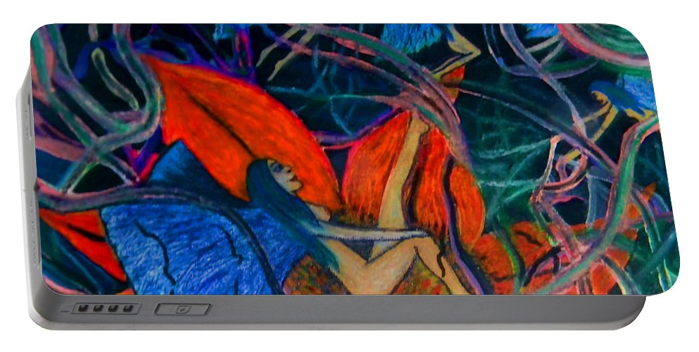 Fairies Portable Battery Charger featuring the painting Midnight Games by Sara Gravely- Comstock