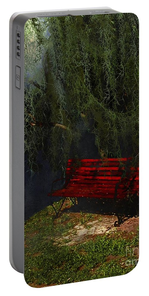 Bench Portable Battery Charger featuring the painting Midnight In The Garden Of Good And Evil by RC DeWinter