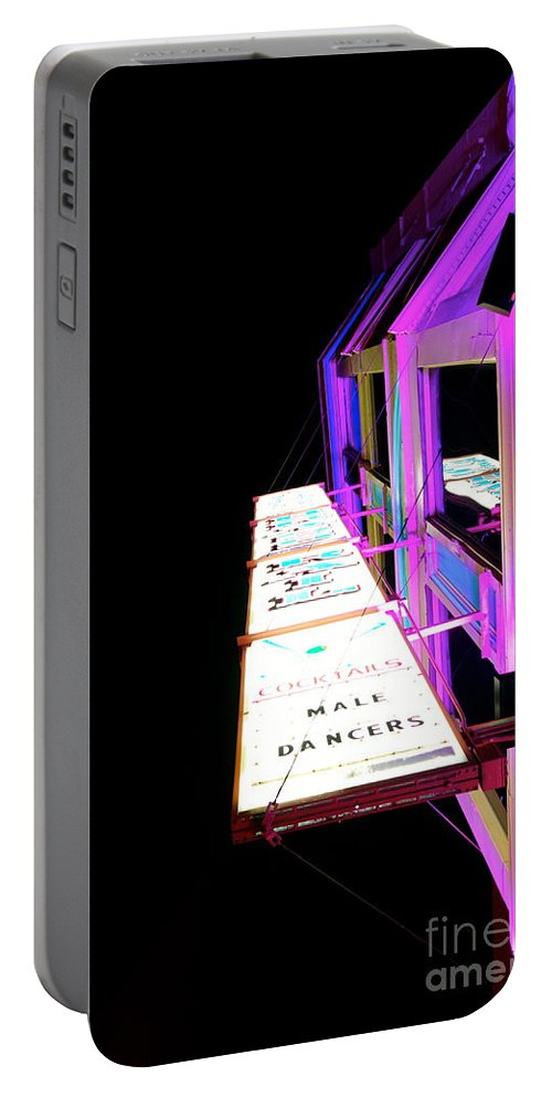 Sign Portable Battery Charger featuring the photograph Midnight Perspective by Jacqueline Athmann