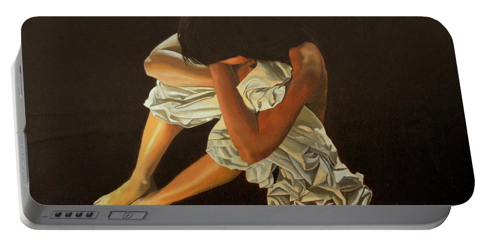 Figure Portable Battery Charger featuring the painting Midnight by Thu Nguyen