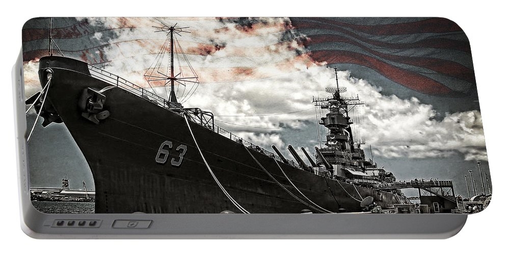 Battleship Portable Battery Charger featuring the photograph Mighty Mo U.s.s. Missouri by Ken Smith