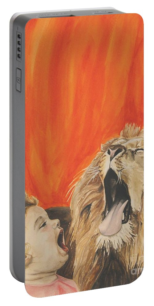 Lion Portable Battery Charger featuring the painting Mika And Lion by Tamir Barkan