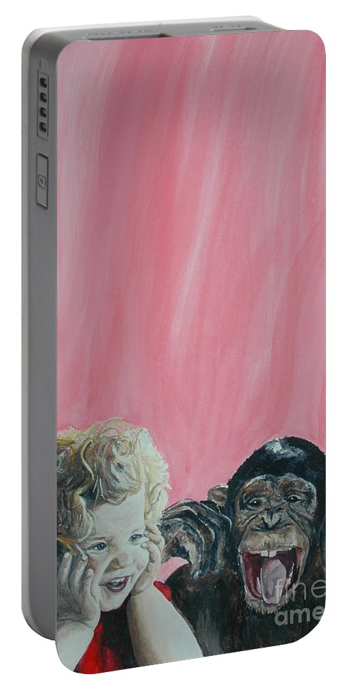 Monkey Portable Battery Charger featuring the painting Mika And Monkey by Tamir Barkan