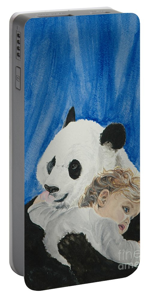 Panda Portable Battery Charger featuring the painting Mika And Panda by Tamir Barkan