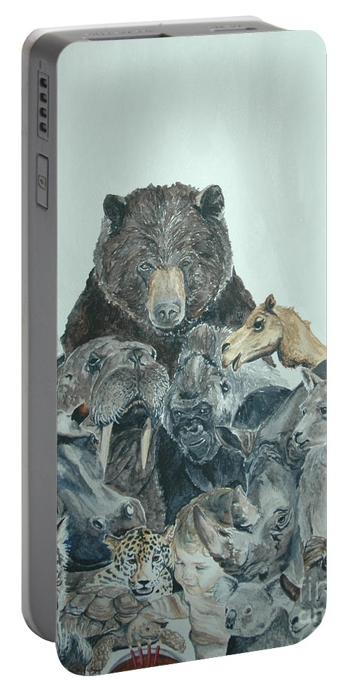 Animals Portable Battery Charger featuring the painting Mika Animals by Tamir Barkan