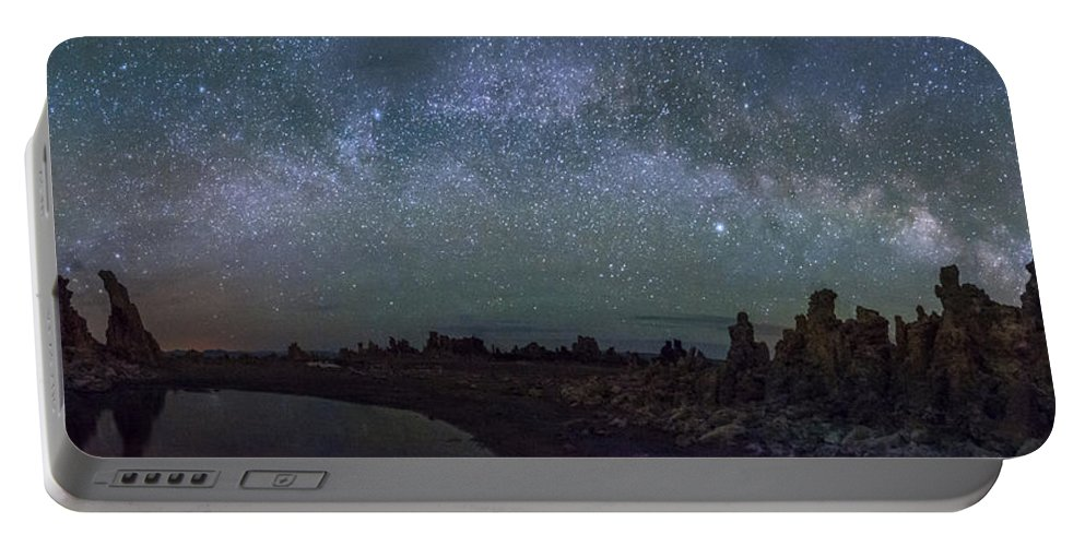 Night Portable Battery Charger featuring the photograph Milky Way At Mono Lake by Cat Connor