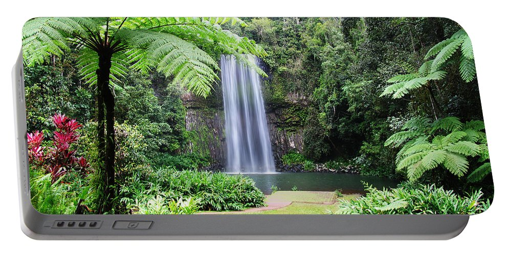 Waterfalls Portable Battery Charger featuring the photograph Millaa Millaa Falls by Linda Lees
