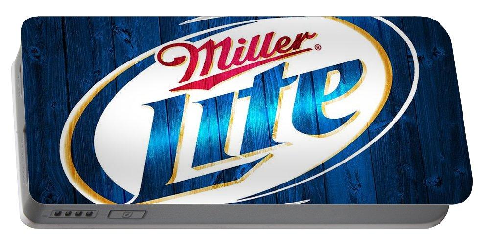 Miller Lite Barn Door Portable Battery Charger featuring the digital art Miller Lite Barn Door by Dan Sproul