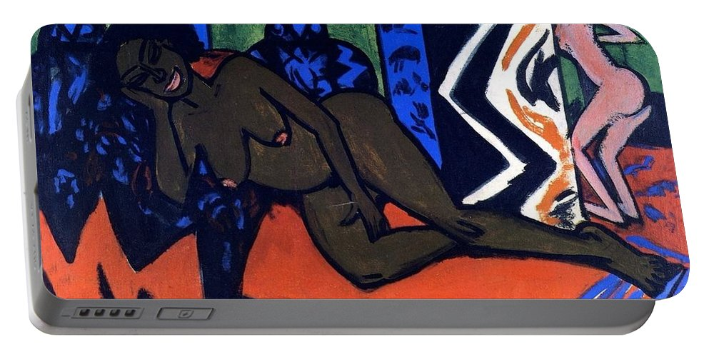 1911 Portable Battery Charger featuring the painting Milly Asleep by Ernst Ludwig Kirchner