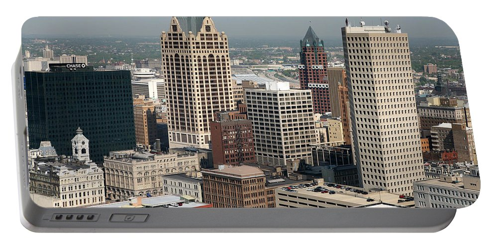 Elan Financial Services Portable Battery Charger featuring the photograph Milwaukee Wisconsin Skyline Aerial by Bill Cobb