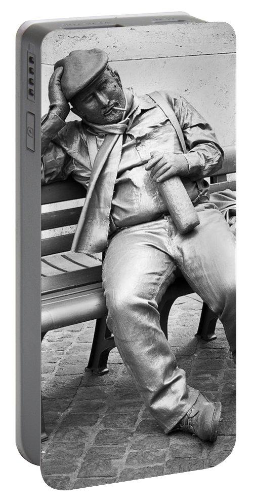 Rome Portable Battery Charger featuring the photograph Mime At Work by Georgette Grossman