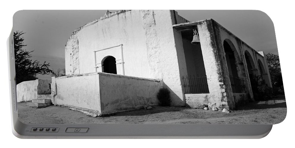 Black And White Portable Battery Charger featuring the photograph Minas Nueva 01 by Jeff Brunton