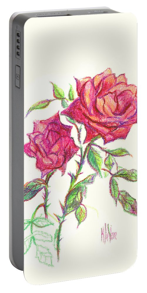 Nature Portable Battery Charger featuring the painting Minature Red Rose by Kip DeVore