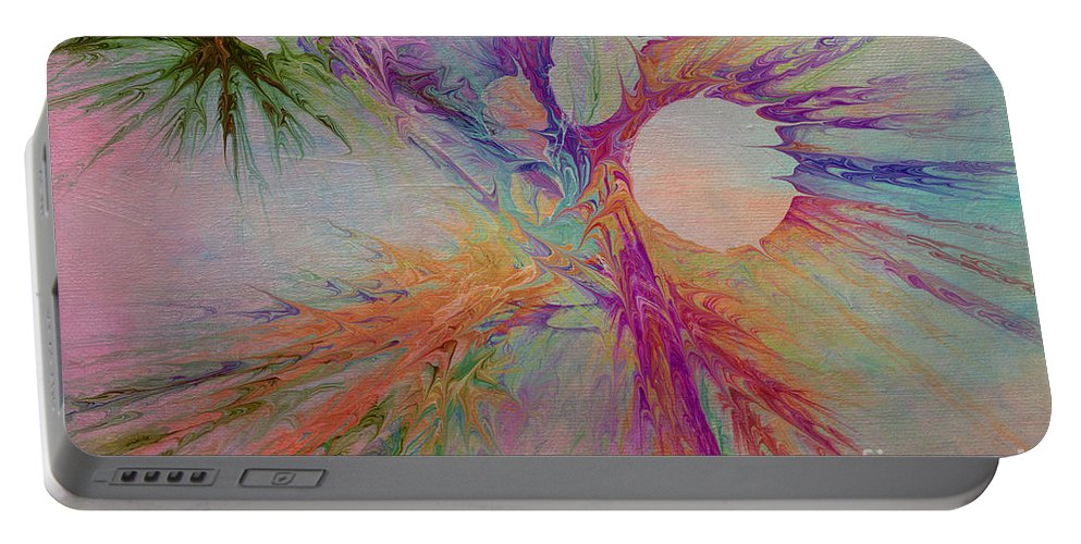 Abstract Portable Battery Charger featuring the digital art Mind Energy Aura by Deborah Benoit