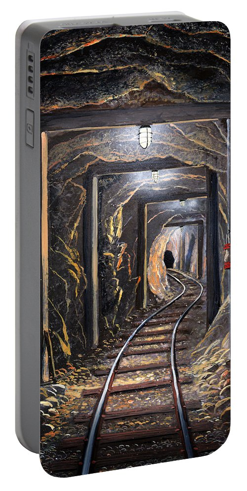 Mural Portable Battery Charger featuring the painting Mine Shaft Mural by Frank Wilson