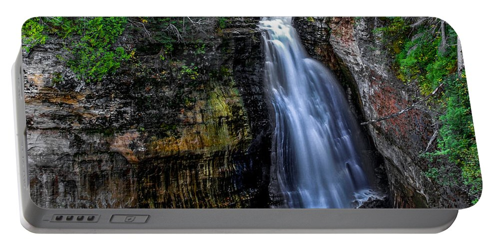 Optical Playground By Mp Ray Portable Battery Charger featuring the photograph Miners Falls I by Optical Playground By MP Ray