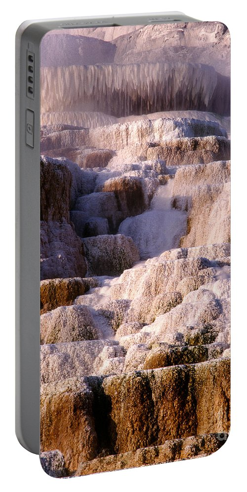 Limestone & Calcium Carbonate Travertine Portable Battery Charger featuring the photograph Minerva Terrace by Tracy Knauer