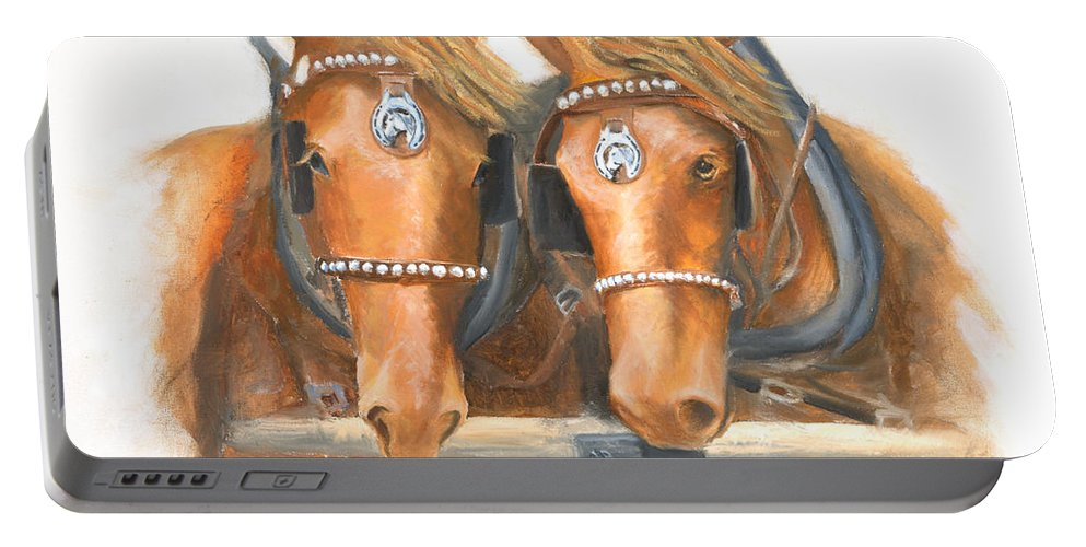Horse Portable Battery Charger featuring the painting Mini And Jake by Jerry McElroy