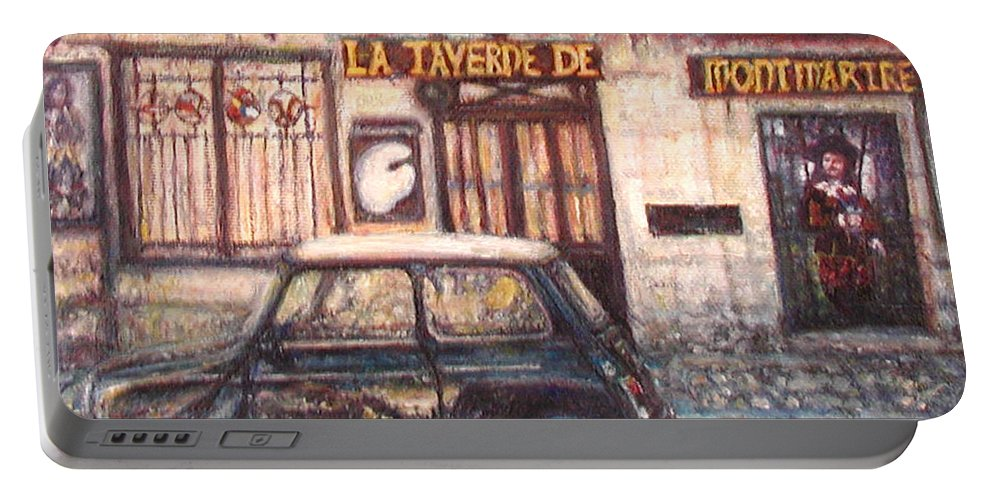 Quin Sweetman Portable Battery Charger featuring the painting Mini De Montmartre by Quin Sweetman