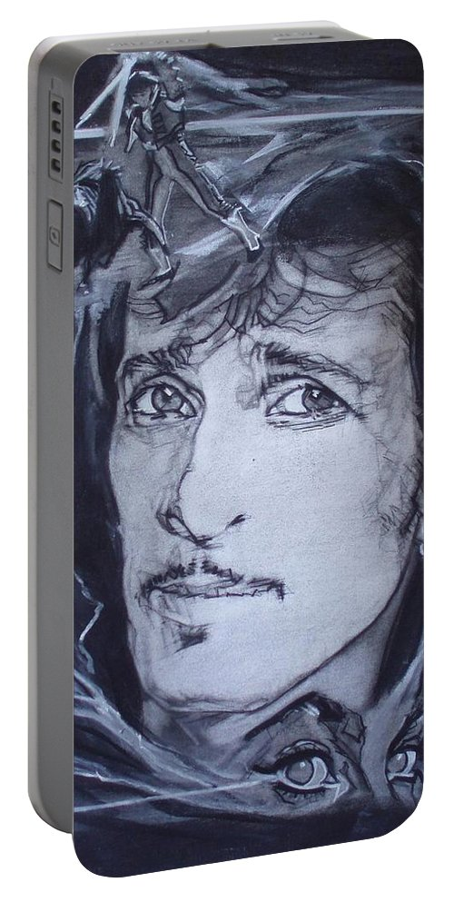 Charcoal;mink Deville;new York City;gina Lollabrigida Eyes ;cat Eyes;bullfight;toreador;swords;death;smoke;blues Portable Battery Charger featuring the drawing Willy Deville - Coup De Grace by Sean Connolly