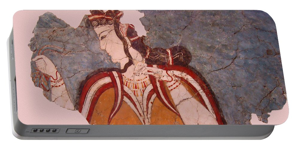 Minoan Wall Painting Portable Battery Charger featuring the photograph Minoan Wall Painting by Ellen Henneke