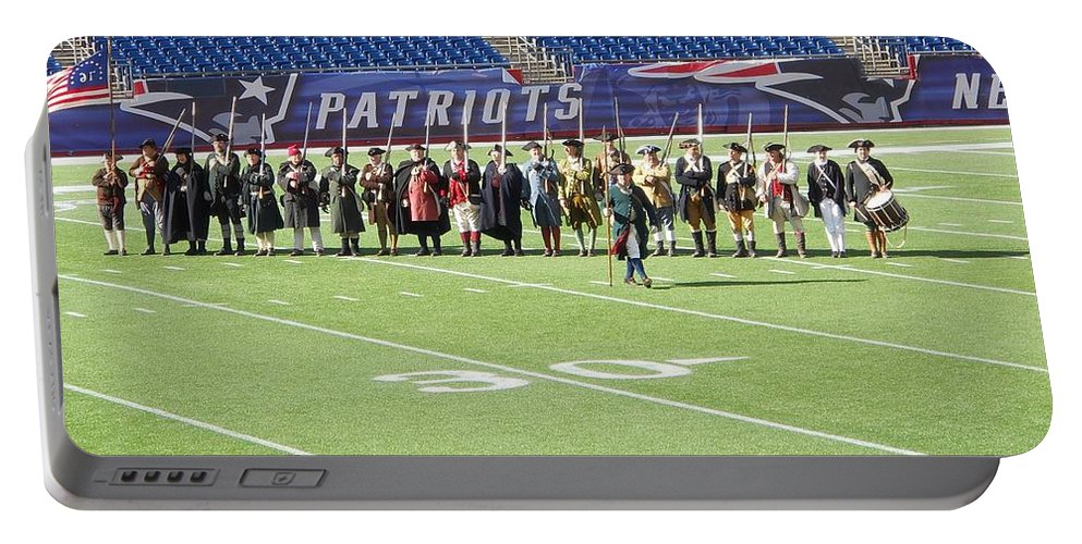 New England Patriots Portable Battery Charger featuring the photograph Minutemen by Rachel Kaufmann