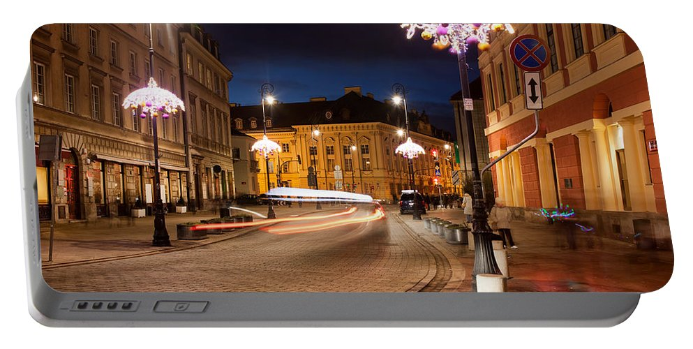 Warsaw Portable Battery Charger featuring the photograph Miodowa Street In Warsaw At Night by Artur Bogacki