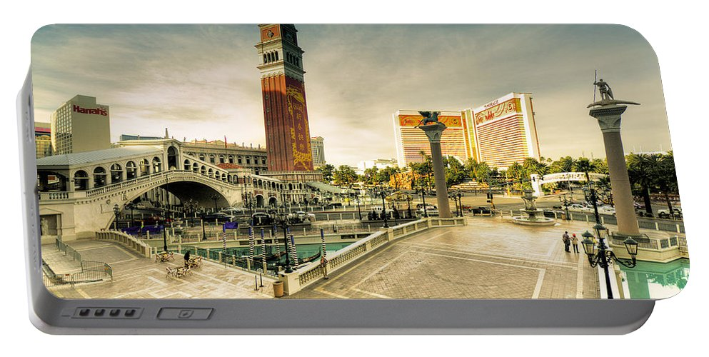 Venitian Portable Battery Charger featuring the photograph Mirage And The Venitian by Rob Hawkins