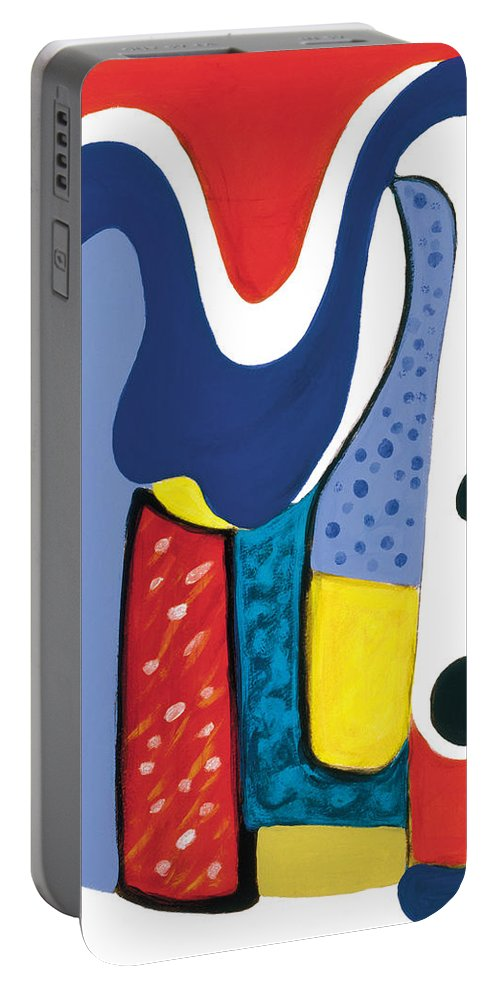 Abstract Art Portable Battery Charger featuring the painting Mirror Of Me 1 by Stephen Lucas