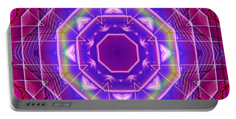 Kaleidoscope Portable Battery Charger featuring the digital art Mirror Reflections by Mario Carini