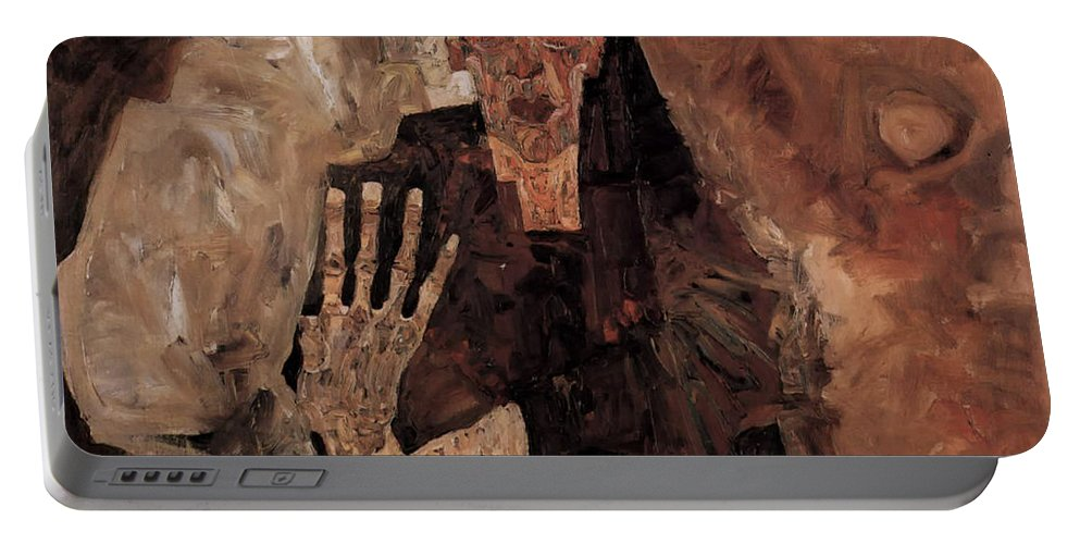 Misery Portable Battery Charger featuring the painting Misery Welcomes by Mountain Dreams