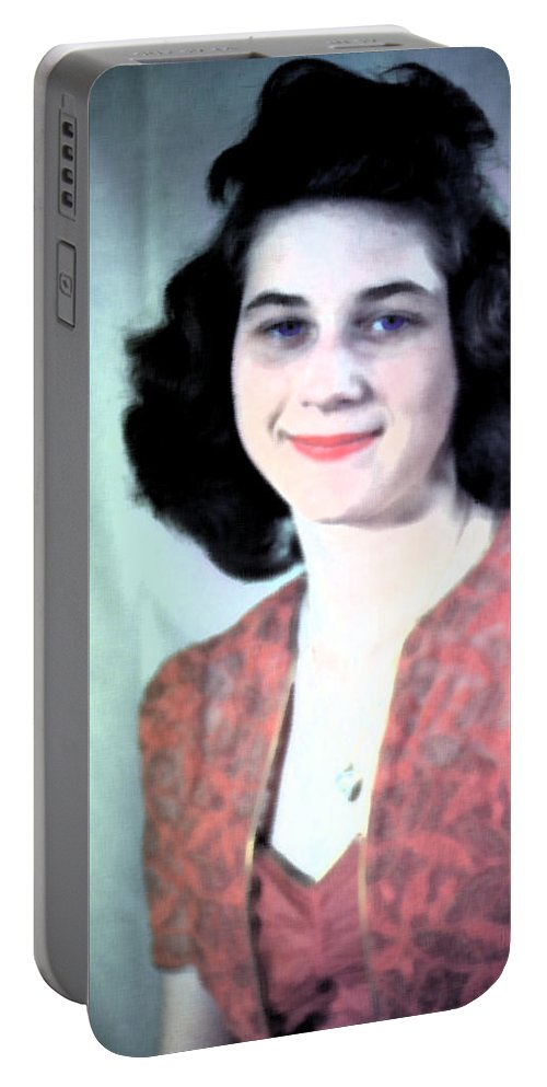 Portrait Portable Battery Charger featuring the digital art Missblueeyes by Cathy Anderson