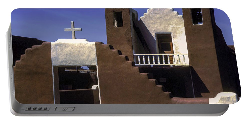 Taos Pueblo New Mexico Mission Church Churches Building Buildings Structures Structure City Cities Cityscape Cityscapes Place Places Of Worship Cross Crosses Architecture Portable Battery Charger featuring the photograph Mission Church by Bob Phillips