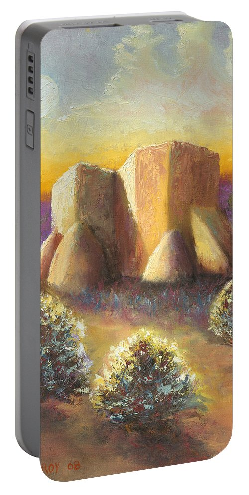 Landscape Portable Battery Charger featuring the painting Mission Imagined by Jerry McElroy
