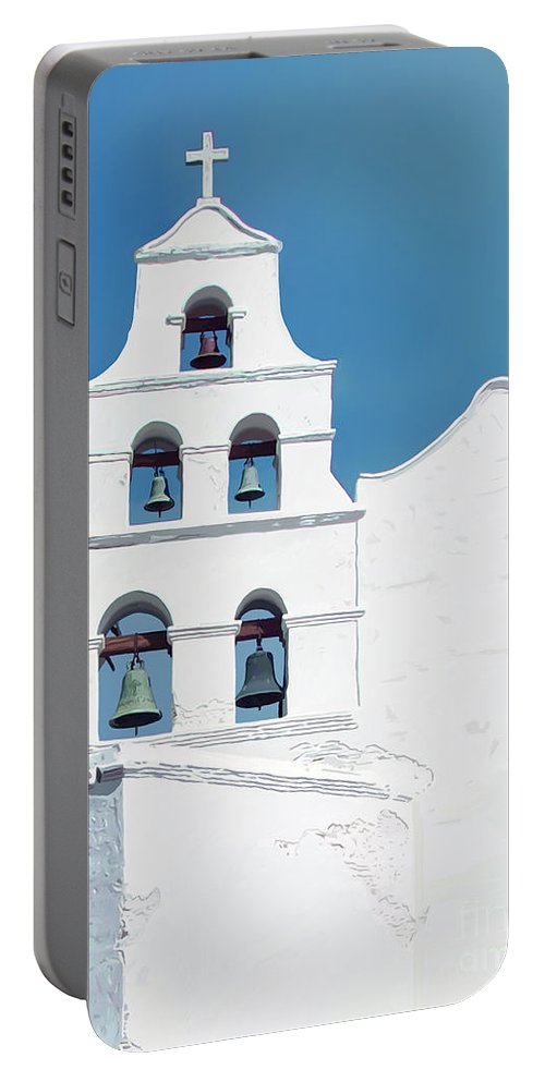 Contemporary Art Portable Battery Charger featuring the digital art Mission San Diego De Alcala by John Engen
