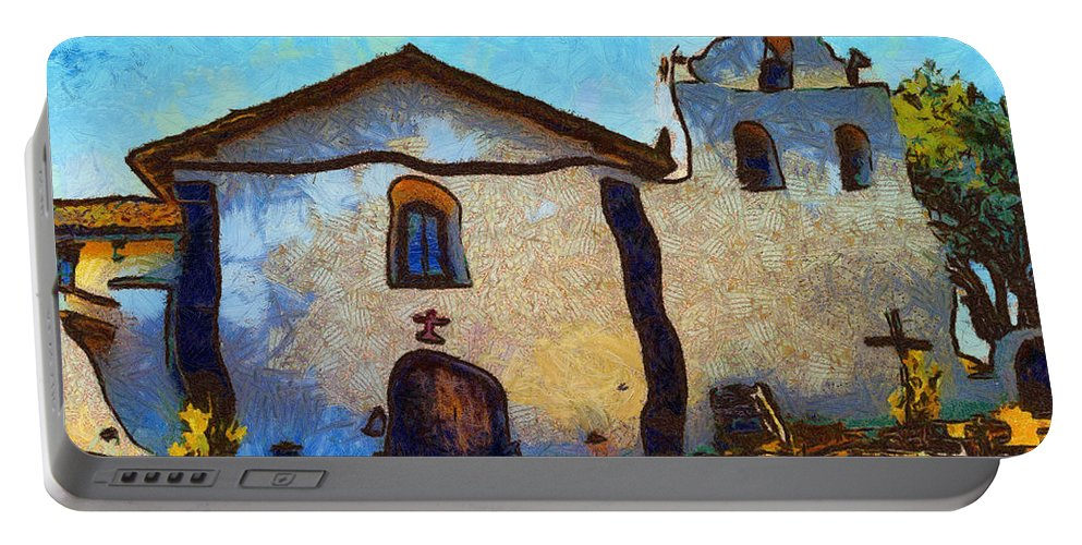 Barbara Snyder Portable Battery Charger featuring the digital art Mission Santa Ines by Barbara Snyder